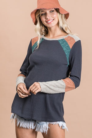 Multicolor Contrast Long Sleeve