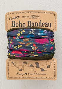 Fleece Boho Bandeau - Navy Wildflower