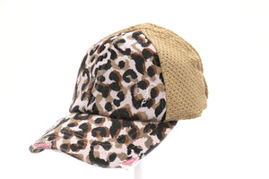 Leopard Distressed Stretch Mesh High Pony CC Ball Cap