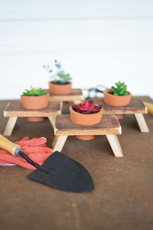 Terracotta Flower Pot on Recycled Wood Base
