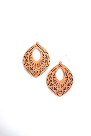 Geometric Wood Cutout Earrings
