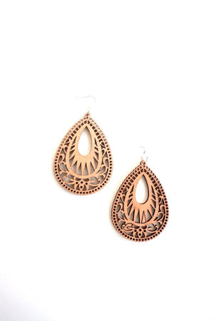 Geometric wood earrings.