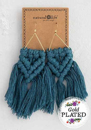Teal Macramé Earrings