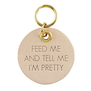 Leather Pet Tag - Feed Me