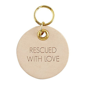 Leather Pet Tag - Rescued with Love