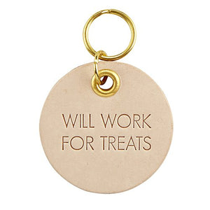 Leather Pet Tag - Will Work for Treats