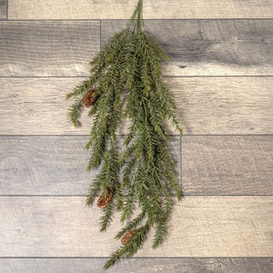 Draping Pine Bush with Pinecones