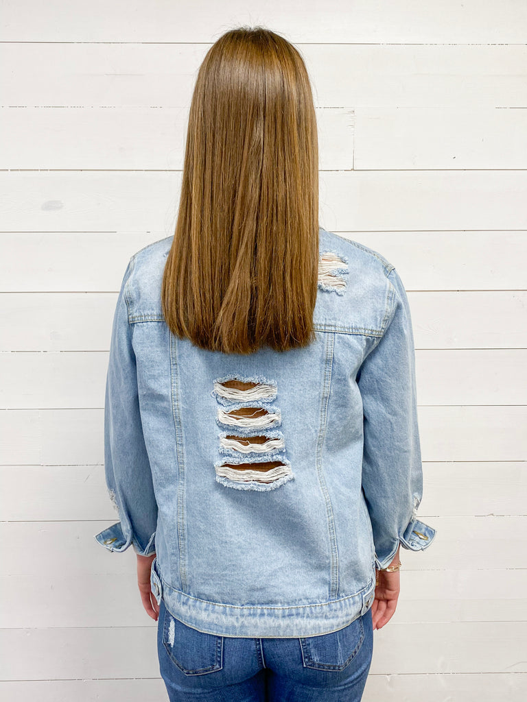 Distressed Button Down Denim Jacket