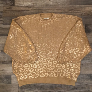 Pink Gold Leopard Sweater