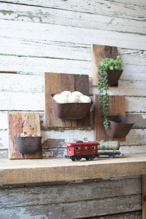 Repurposed Metal & Wood Wall Flower Holders (Multiple Sizes)
