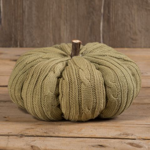 "10"" Sage Knit Pumpkin"