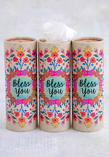 Bless You Cream Floral Car Tissue
