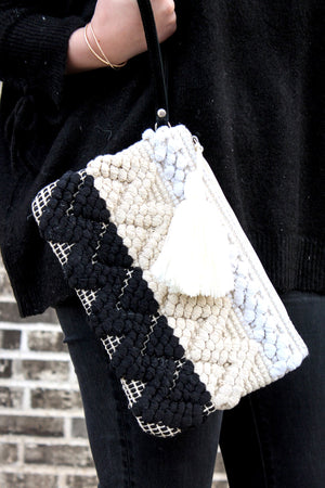 Black and White Boho Clutch with Wristlet