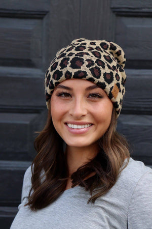 Leopard Fleece-Lined Beanie