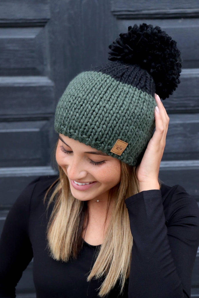 Black and Olive Color Block Pom Knit Hat