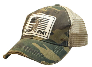 Distressed Trucker Cap - Born to Hunt Camo