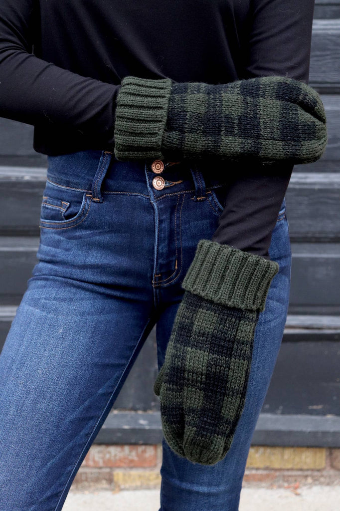 Green and Black Plaid Mittens