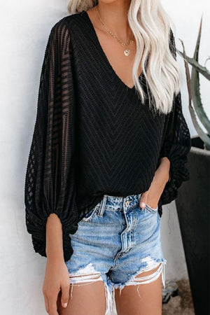 Black Chiffon Balloon Sleeve Top
