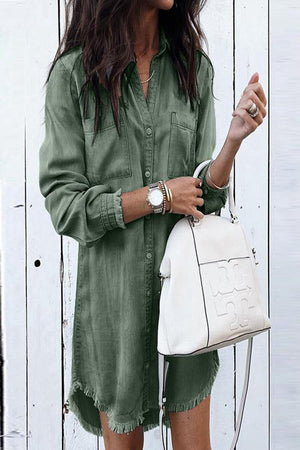 Army Green Button-Up Shirt Dress