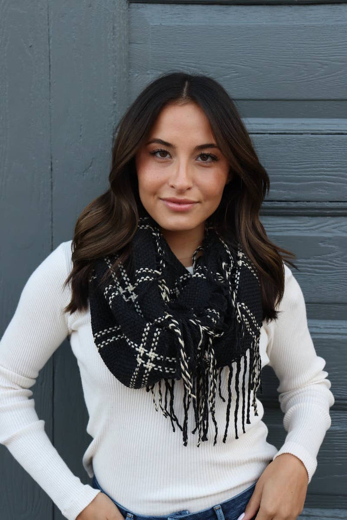 Black Plaid Infinity Scarf