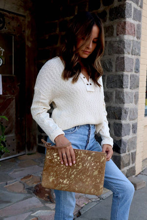Gold-Splashed Cowhide Clutch