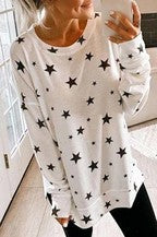 White/Black Star Sweater