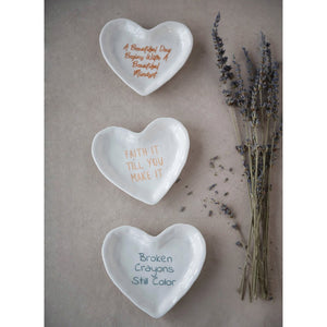 Stoneware Heart Dishes, Multiple Phrases!