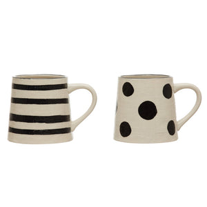Black and White Linen Texture Mugs