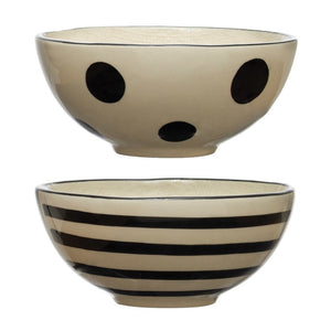 Black and White Linen Texture Bowls
