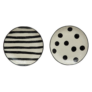 Black and White Linen Texture Plates