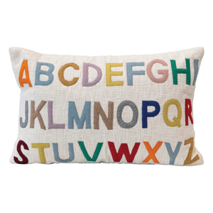 Cotton Lumbar Pillow w/ Embroidered Alphabet