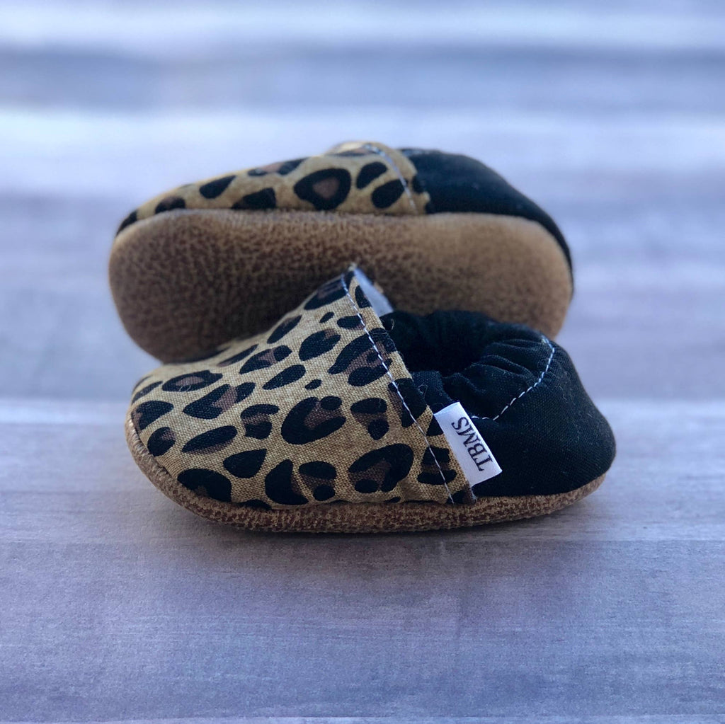 Tan Leopard Baby Moccasins