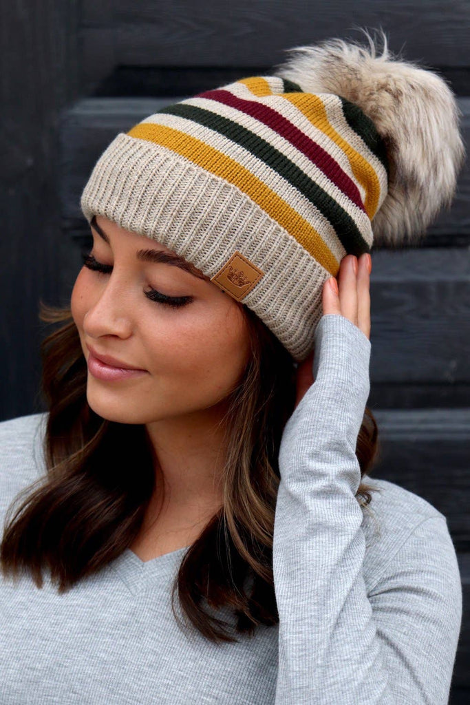 Multicolor Striped Pom Knit Hat