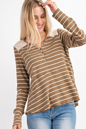 Olive striped jersey lace