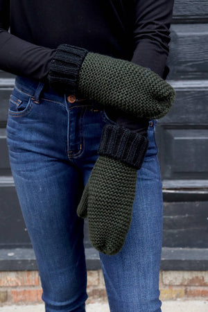 Green & Black Two-Tone Mittens