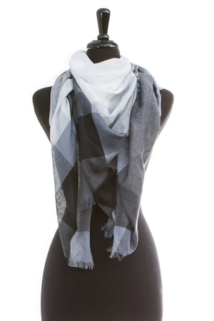 Gray Color-Block Blanket Scarf