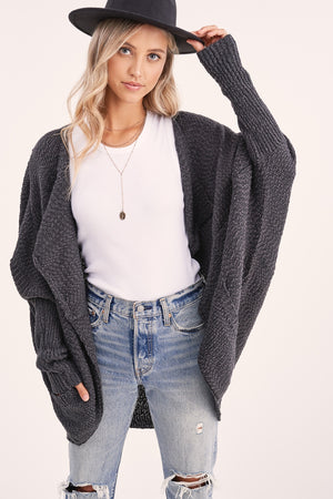 Charcoal Open Cardigan
