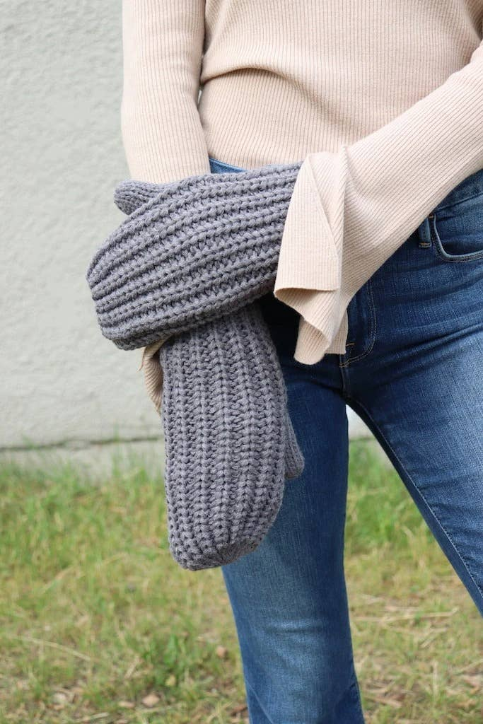 Gray Knit Mittens
