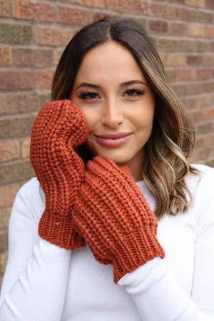 Orange Knit Mittens