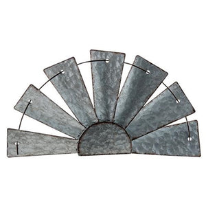 Galvanized Half Windmill Wall Art