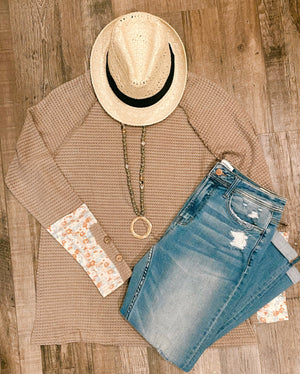 Taupe Waffle-Knit Top with Floral Sleeve