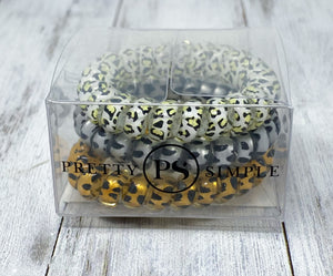 Animal Print Spiral Hair Bands Pack
