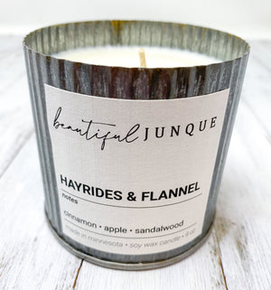 Hayrides and Flannel Tin Candle