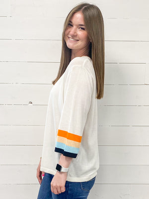 White Sweater with Color Stripe Sleeves