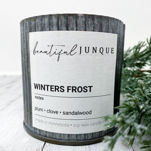 Winter's Frost Tin Candle