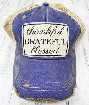 Distressed Trucker Cap - Thankful Grateful Blessed Blue Denim