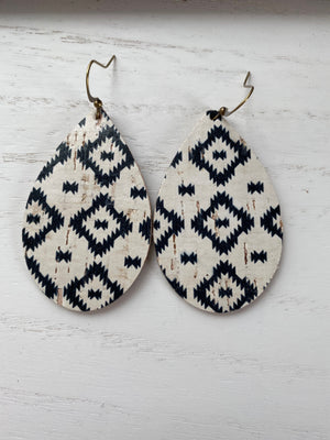 Black and White Aztec Cork Earrings