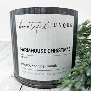 Farmhouse Christmas Tin Candle