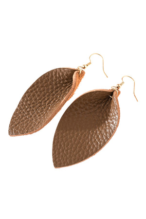 Pinched Teardrop Earring - Brown