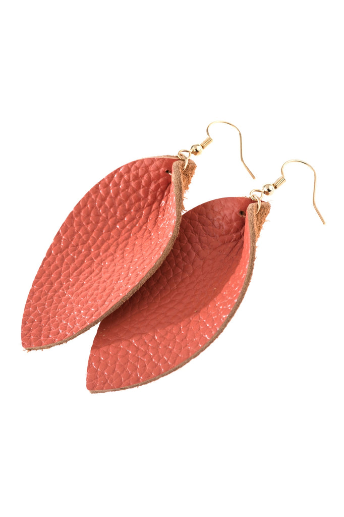 Pinched Teardrop Earring - Coral